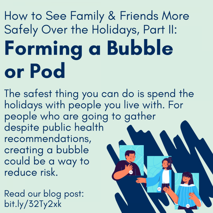 How to See Family & Friends More Safely Over the Holidays, Part II:  Forming a Bubble  or PodThe safest thing you can do is spend the holidays with people you live with. For people who are going to gather  despite public health  recommendations,  creating a bubble  could be a way to  reduce risk.Read our blog post: bit.ly/32Ty2xk