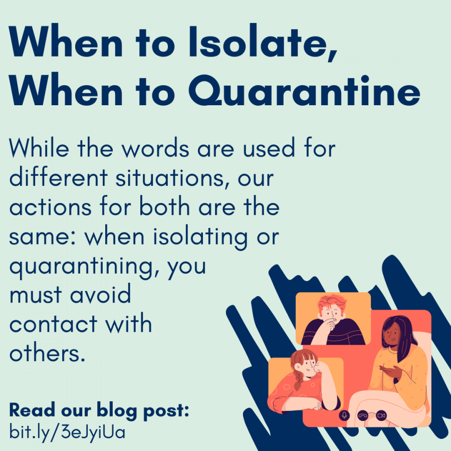 When to Isolate, When to Quarantine, While the words are used for different situations, our actions for both are the same: when isolating or quarantining, you  must avoid  contact with  others. Read our blog post:  bit.ly/3eJyiUa. Icon of people chatting on a video call