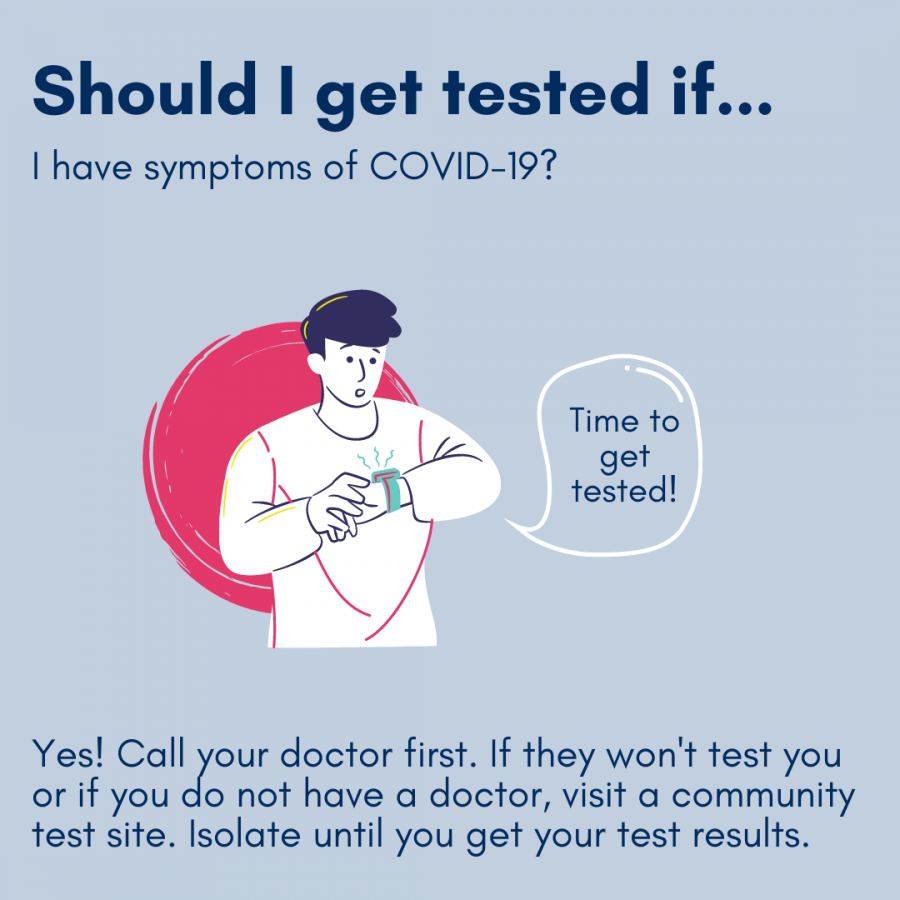 Should I get tested if...I have symptoms of COVID-19?Yes! Call your doctor first. If they won't test you or if you do not have a doctor, visit a community test site. Isolate until you get your test results.