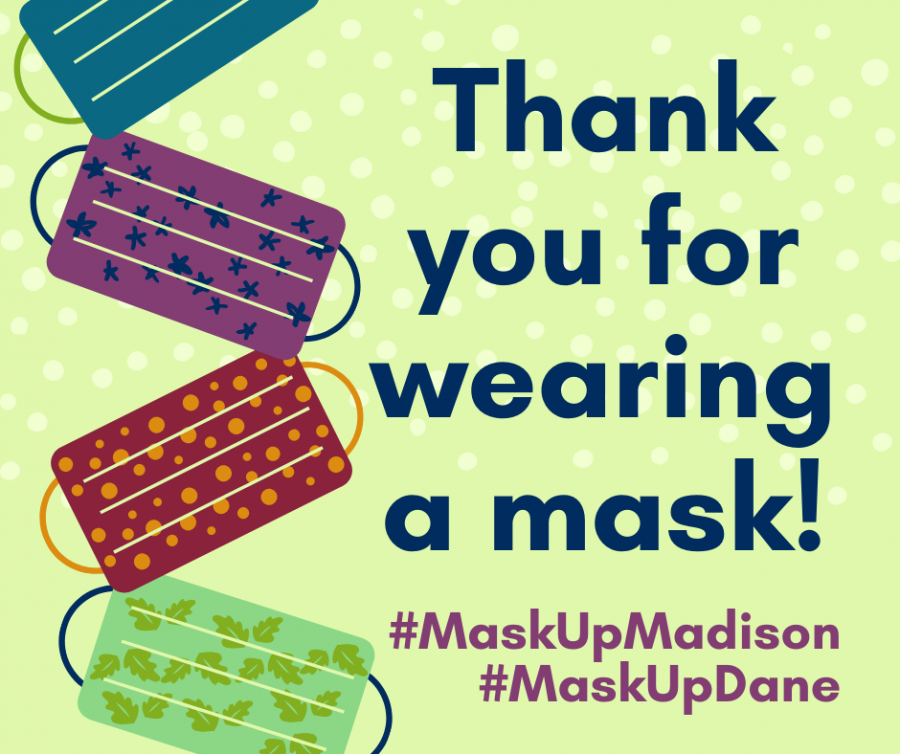 Graphic with a variety of masks that says Thank You for Wearing a Mask!