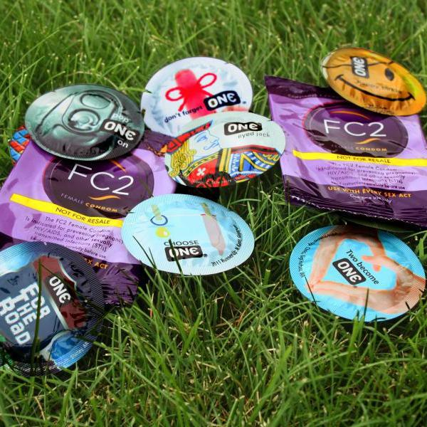 condoms in grass