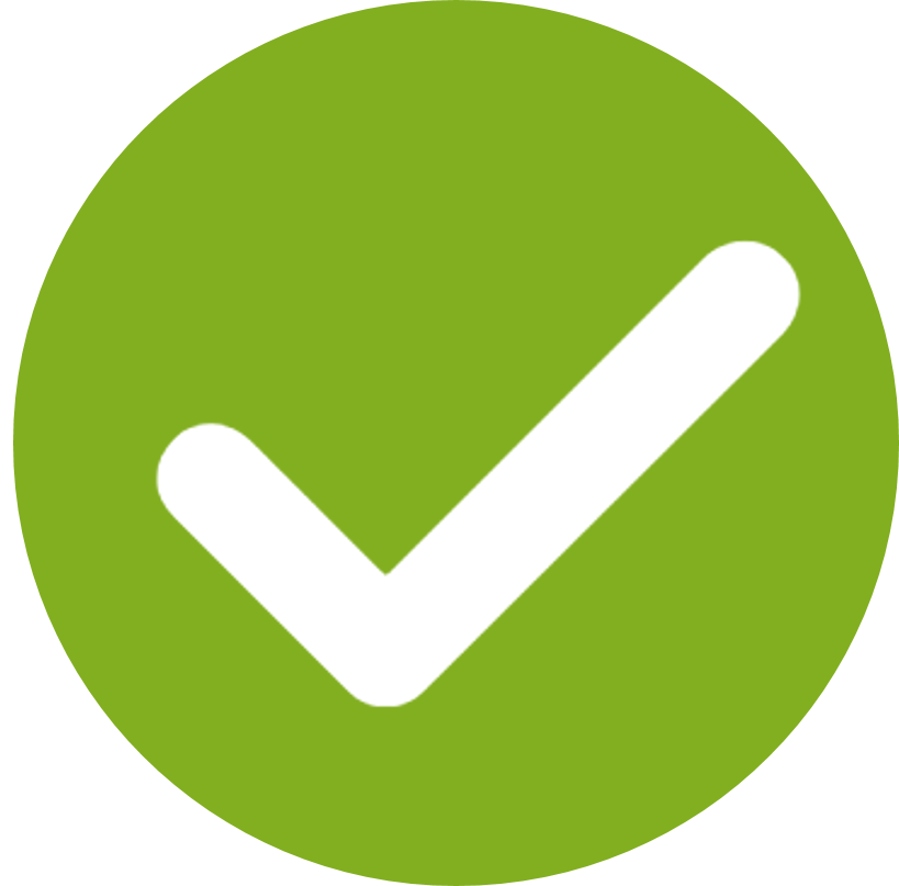 green circle with a checkmark