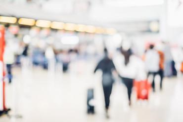 blurry airport baggage claim