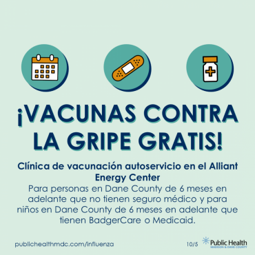 A graphic that says vacunas contra la gripe gratis