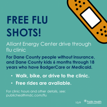 A graphic about free flu shots