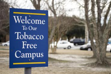 tobacco-free campus sign