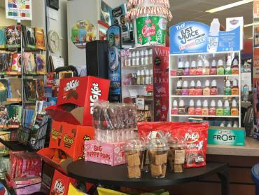 Tobacco and nicotine products on counter at store
